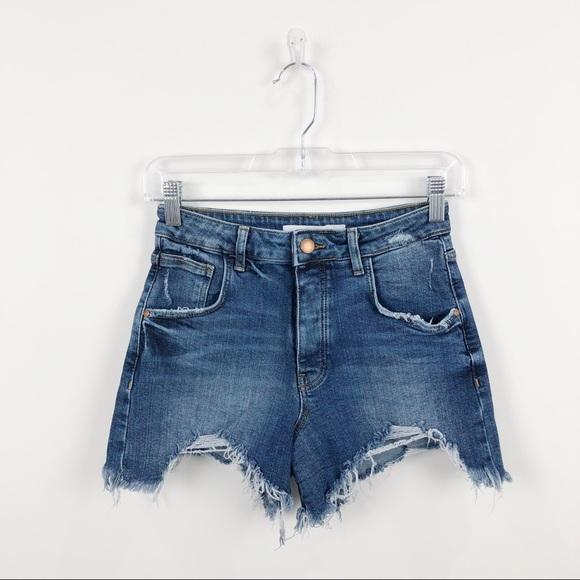 Zara Pants - Zara TRF High Rise Distressed Jean Shorts Blue